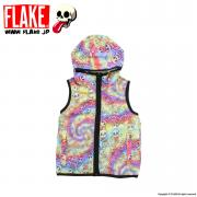 MAD SKULL TIE-DYE NO SLEEVE ZIP PARKA